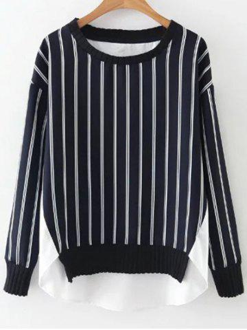 Affordable High Low Stripes Spliced Sweatshirt BLUE AND WHITE L