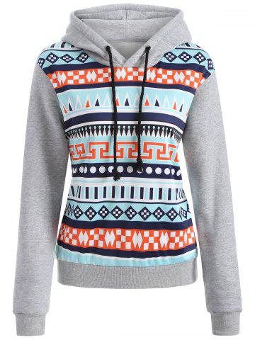 Unique Casual Drawstring Geometric Pullover Hoodie GRAY XL