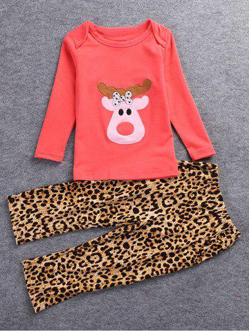 Christmas Deer T-Shirt + Leopard Print Pants - Red - 80