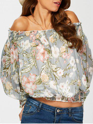 Chic Chiffon Off The Shoulder Floral Print Blouse