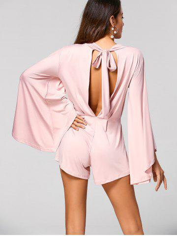 Shops Cut Out Flare Sleeve Fitting Romper - S PINK Mobile