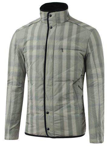 Outfits Stand Collar Zip-Up Striped Quilted Jacket GRAY 2XL