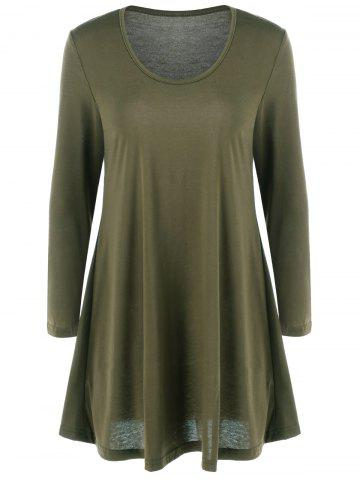 Online Fit and Flare Long Sleeve Mini Dress ARMY GREEN XL