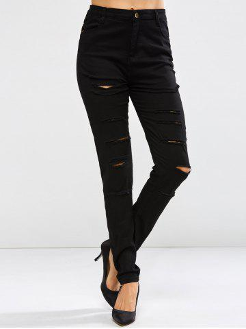 Fashion Pockets Distressed Jeans BLACK XL