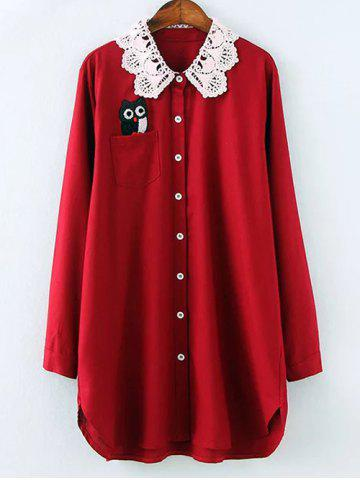Shop Plus Size Crochet Collar Night Owl Blouse WINE RED 4XL