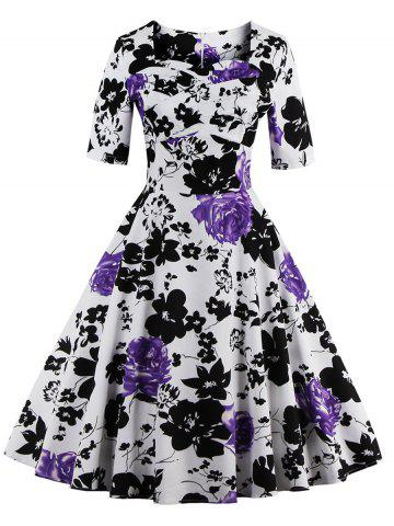 Chic Vintage Sweetheart Neck Floral Print Pin Up Dress PURPLE 5XL