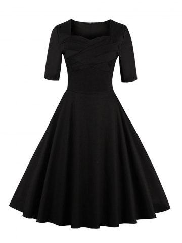 Store Vintage Sweetheart Neck Flare Pin Up Dress BLACK 5XL