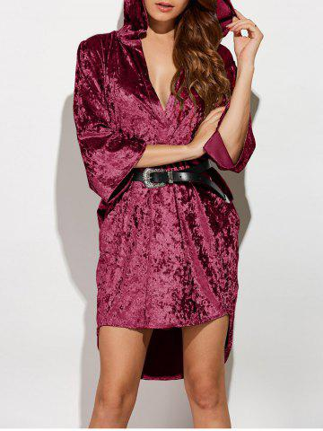Three Quarter Sleeve Hooded Velvet Dress