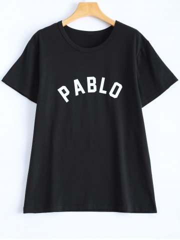 Fashion Letter Streetwear T-Shirt - L BLACK Mobile