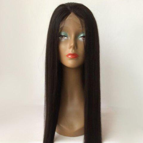 Unique Long Straight Middle Parting Lace Front Human Hair Wig - BLACK  Mobile