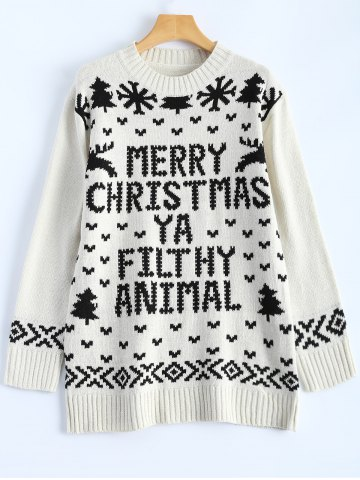 Shop Jewel Neck Merry Christmas Sweater OFF WHITE ONE SIZE
