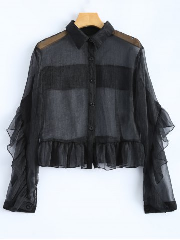 Fancy Ruffled Sheer Crop Shirt BLACK 2XL