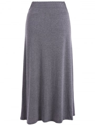 Online Lace-Up High Waist Maxi Skirt - ONE SIZE DEEP GRAY Mobile
