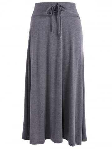 Lace Up taille haute Maxi jupe Gris Foncu00e9 TAILLE MOYENNE