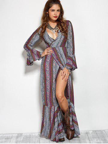 Affordable Plunging V Neck Printed Maxi Bohemian Dress