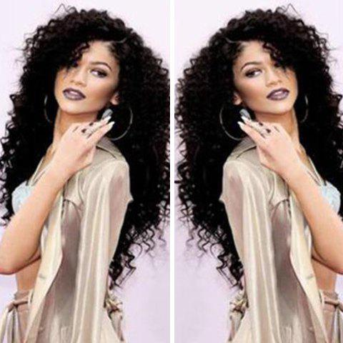 Online Long Curly Side Parting Lace Front Human Hair Wig BLACK