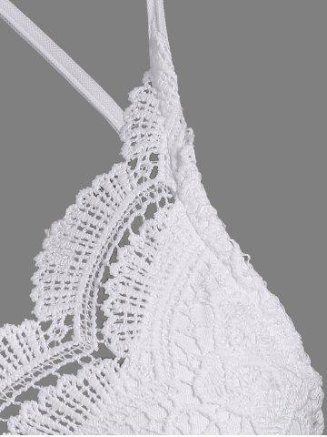 Trendy Spaghetti Straps Padded Lace Bra Top - ONE SIZE WHITE Mobile