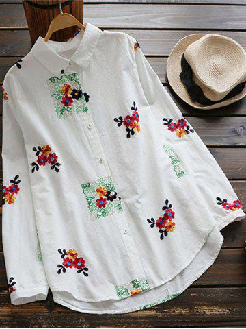 Best Floral Embroidered Linen Blend Shirt WHITE ONE SIZE