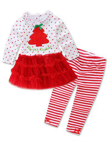 Christmas Tree Tulle Polka Dot Dress + Striped Leggings Two Piece Set - Red - 90