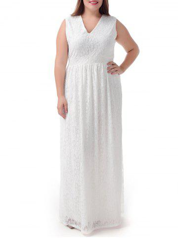 New Plus Size Lace Long Sleeveless Party Prom Dress