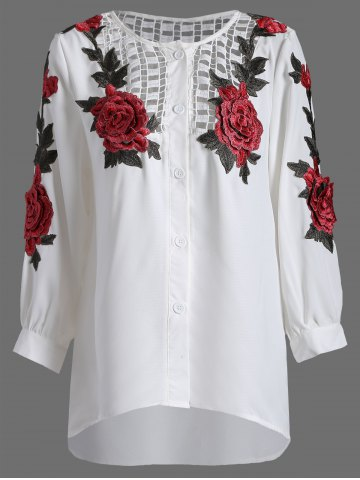 Openwork Rose Embroidery Blouse - White - M
