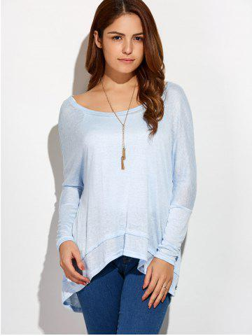 New Round Neck Oversized High Low T-Shirt - XL LIGHT BLUE Mobile