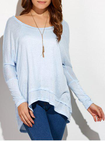 Sale Round Neck Oversized High Low T-Shirt - XL LIGHT BLUE Mobile