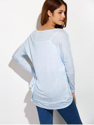 Unique Round Neck Oversized High Low T-Shirt - XL LIGHT BLUE Mobile