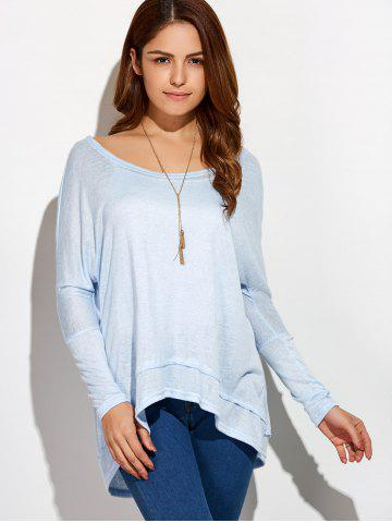 Buy Round Neck Oversized High Low T-Shirt - XL LIGHT BLUE Mobile
