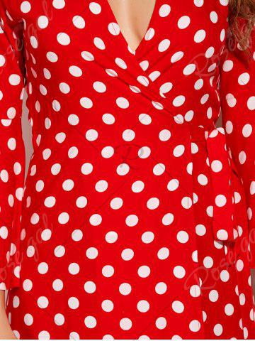 Affordable Christmas Polka Dot Tea Length Wrap Dress - XL RED WITH WHITE Mobile