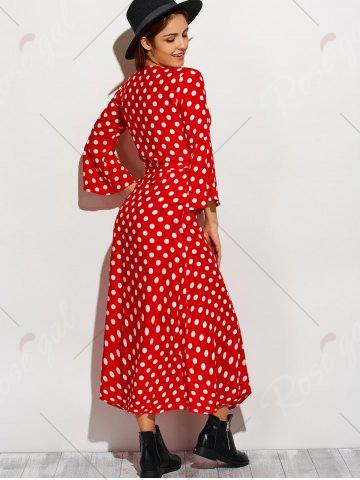 Discount Christmas Polka Dot Tea Length Wrap Dress - XL RED WITH WHITE Mobile