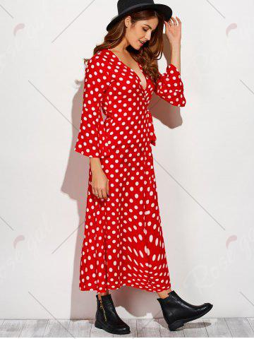 Outfit Christmas Polka Dot Tea Length Wrap Dress - XL RED WITH WHITE Mobile