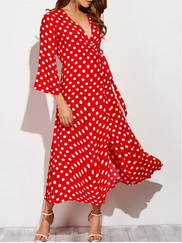 Outfit Christmas Polka Dot Tea Length Wrap Dress - L RED WITH WHITE Mobile