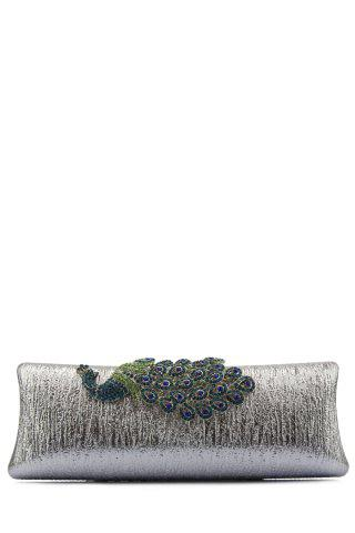 Cheap Peacock Embellished PU Evening Clutch - SILVER  Mobile