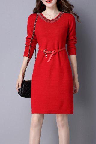 Sale V Neck Knitted Dress with Belt RED XL