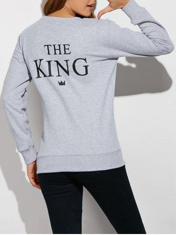Latest Letter Loose Couple Sweatshirt GRAY L
