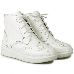 Tie Up Engraving PU Leather Ankle Boots