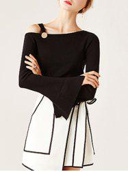 Split Bell Sleeve Buckled Knitwear - BLACK ONE SIZE