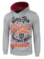 Graphic Print Drawstring Pullover Hoodie -