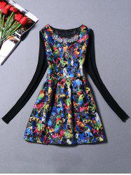 Sweater Sleeve Parrot Print Dress With Necklace -