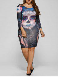 Diable Skull Imprimer Mini Robe moulante - Multicolore 3XL