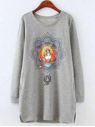 Plus Size Fleeced Peking Opera Pattern Sweatshirt - GRAY