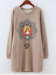 Plus Size Fleeced Peking Opera Pattern Long Sweatshirt - LIGHT COFFEE