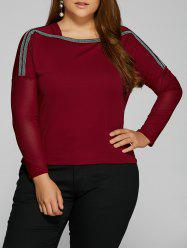 Plus Size Drop Shoulder Sheer Sleeve T-Shirt -