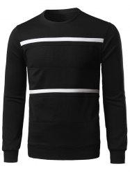 Spliced Stripe Long Sleeve Sweatshirt - BLACK 2XL
