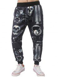 Skull Gun Printed Drawstring Jogger Pants - BLACK XL