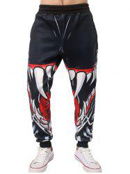 3D Mouth Teeth Print Jogger Pants - BLACK