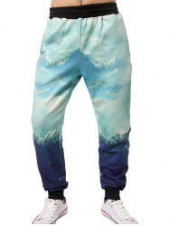 3D Graphic Sky Print Jogger Pants - LIGHT BLUE XL