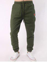 Plus Size Letter Embroidery Army Jogger Pants - ARMY GREEN 5XL