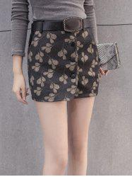 Printed Woolen Skirt With Belt -